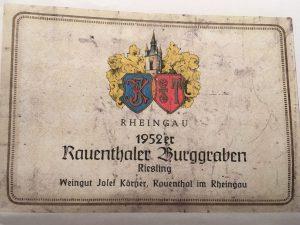 Etiket 1952 Josef Körner Weingut
