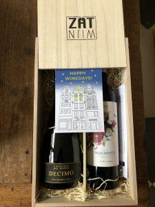 Wijngeschenk in luxe houten kistjes met persoonlijke boodschap Wijnzat